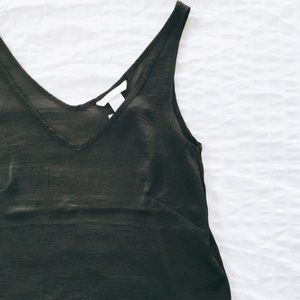 H&M Black V-Neck Silky Hi-Low Tank Top